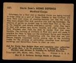 1941 Gum Inc Uncle Sam #107   Medical Corps Back Thumbnail