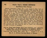 1941 Gum Inc Uncle Sam #98   Auxiliary Fire Corp Back Thumbnail
