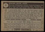 1952 Topps #45  Eddie Joost  Back Thumbnail