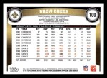 2011 Topps #100  Drew Brees   Back Thumbnail