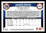 2011 Topps #107  Marvin Austin  Back Thumbnail