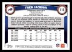 2011 Topps #116  Fred Jackson  Back Thumbnail