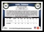 2011 Topps #182  Earl Thomas  Back Thumbnail
