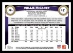 2011 Topps #411  Willis McGahee  Back Thumbnail