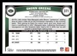 2011 Topps #371  Shonn Greene  Back Thumbnail