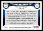 2011 Topps #337  Anthony Castonzo  Back Thumbnail
