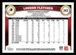 2011 Topps #343  London Fletcher  Back Thumbnail