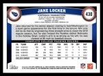 2011 Topps #430  Jake Locker  Back Thumbnail