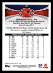 2012 Topps #17  Brandon Lloyd  Back Thumbnail
