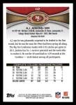2012 Topps #112  A.J. Jenkins  Back Thumbnail