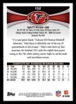 2012 Topps #152  Matt Ryan  Back Thumbnail