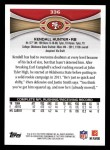 2012 Topps #336  Kendall Hunter  Back Thumbnail