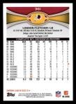 2012 Topps #361  London Fletcher  Back Thumbnail