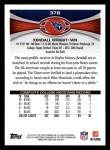 2012 Topps #378  Kendall Wright  Back Thumbnail