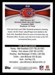 2012 Topps #412   -  Jake Locker Tennessee Titans Back Thumbnail