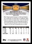 2012 Topps #427  Brandon Taylor  Back Thumbnail