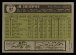 1961 Topps #82  Joe Christopher  Back Thumbnail