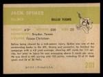 1961 Fleer #201  Jack Spikes  Back Thumbnail