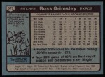1980 Topps #375  Ross Grimsley  Back Thumbnail