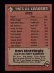 1986 Topps #712   -  Don Mattingly All-Star Back Thumbnail