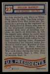 1956 Topps U.S. Presidents #27  William Mckinley  Back Thumbnail