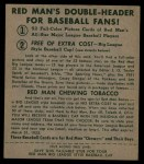 1952 Red Man #8 AL Bob Feller  Back Thumbnail