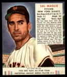 1952 Red Man #14 NL Sal Maglie  Front Thumbnail