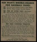 1952 Red Man #16 AL Billy Pierce  Back Thumbnail