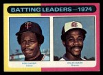 1975 Topps Mini #306   -  Rod Carew / Ralph Garr Batting Leaders Front Thumbnail