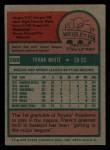 1975 Topps Mini #569  Frank White  Back Thumbnail
