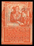1957 Topps Isolation Booth #42   Top Speed at which Pilot Bailed Out Back Thumbnail