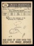 1959 Topps #25  Bill Barnes  Back Thumbnail