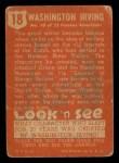 1952 Topps Look 'N See #18  Washington Irving  Back Thumbnail