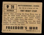 1950 Topps Freedoms War #28   They Won't Stop   Back Thumbnail