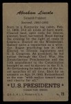 1952 Bowman U.S. Presidents #19  Abraham Lincoln    Back Thumbnail