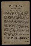 1952 Bowman U.S. Presidents #32  Calvin Coolidge   Back Thumbnail