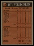 1972 Topps #225   -  Manny Sanguillen 1971 World Series - Game #3 Back Thumbnail