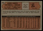 1972 Topps #655  Jerry Grote  Back Thumbnail