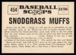 1961 Nu-Card Scoops #454   -   Fred Snodgrass  Snodgrass Muffs a Fly Ball Back Thumbnail