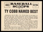 1961 Nu-Card Scoops #443   -   Ty Cobb  Named Best Player of All-Time Back Thumbnail