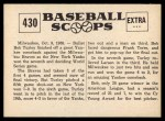 1961 Nu-Card Scoops #430   -  Bob Turley Hurls Yanks to Championship Back Thumbnail