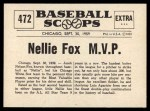 1961 Nu-Card Scoops #472   -  Nelson 'Nellie' Fox American League MVP Back Thumbnail