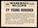 1961 Nu-Card Scoops #448   -   Cy Young  Honored Back Thumbnail