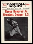 1961 Nu-Card Scoops #437   -   Pee Wee Reese  Reese Honored as Greatest Dodger Short Stop Front Thumbnail