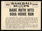 1961 Nu-Card Scoops #447   -   Babe Ruth Hits 60th Home Run Back Thumbnail