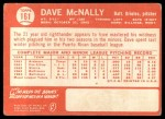 1964 Topps #161  Dave McNally  Back Thumbnail