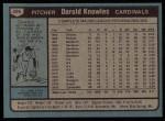 1980 Topps #286  Darold Knowles    Back Thumbnail