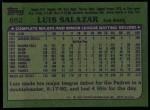 1982 Topps #662  Luis Salazar  Back Thumbnail