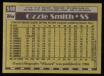 1990 Topps #590  Ozzie Smith  Back Thumbnail