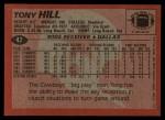 1983 Topps #47  Tony Hill  Back Thumbnail